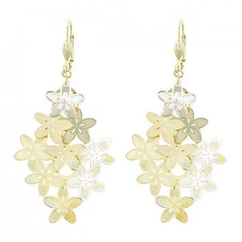 Gold Layered 5.092.008 Chandelier Earring, Flower Design, Polished Finish, Gold Tone
