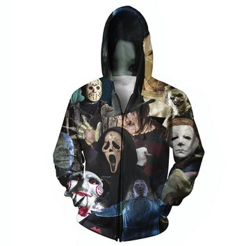 Harajuku men women hoodie 3D full print horror movie killers/Halloween Devil/shark/Zombie sweatshirt hoody outerwear