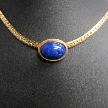 Gold Herringbone Chain Blue Marbled Slide Pendant Vintage Avon Collectible Necklace and Pendant Blue Gold Jewelry