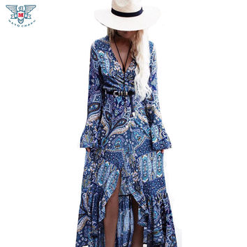 Women Boho Dresses Ethnic Vintage Printed Maxi Dress Long Flare Sleeve Casual Beach Cardigan Bohemian Long Dress Vestidos