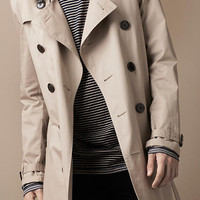 Mid-Length Cotton Trench Coat