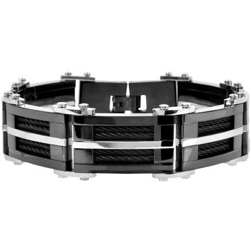 INOX Jewelry 316L Stainless Steel Black Plated Cable Link Bracelet