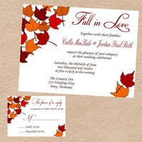 Fall in Love Wedding Invitation & Response by DecorableDesigns