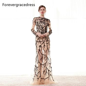 Forevergracedress Real Images Luxury Sexy Prom Dress Hot Sale Long Sleeves Beaded Tulle Backless Formal Party Gown Plus Size