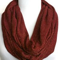 Infinity Scarf in Maroon and Gold Metallic Waffle Knit Jersey, Loop Scarf, Eternity Scarf, Circle Scarf