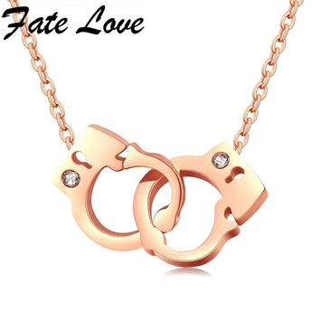 Fate Love Rose Gold Color Stainless Steel Handcuffs Necklace Individual Clear CZ Necklace For Women Fashion Jewelry Gift FL1114