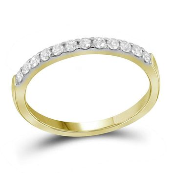 14kt Yellow Gold Women's Round Pave-set Diamond Single Row Wedding Band 1/4 Cttw - FREE Shipping (US/CAN)