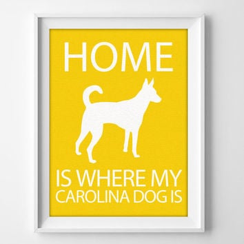 "8x10"" Carolina Dog Art, Illustrated Dog Art, Carolina Dog Decor, Dog Breed Wall Art, Minimalist Pet Art, Puppy Wall Art Print, Dingo Gift"