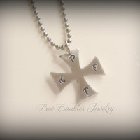 Hand Stamped Maltese Cross Necklace - Maltese jewelry - Personalized Jewelry