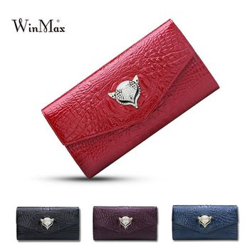 Winmax alligator Genuine Leather hand Bag Women Cow leather Pattern shoulder Bag Evening Clutch Wallet Purse Chain Messenger Bag