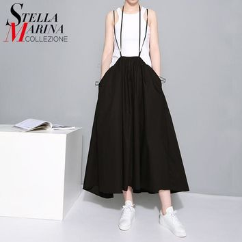 New 2017 European Women Long Summer Skirts High Waist Suspenders Cotton Pleated Skirts Mid Calf Length Black White Skirts 1388