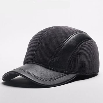 Mens Winter Leather Cap Warm Patchwork Dad Hat Baseball Caps With Ear Flaps Russia Adjustable Snapback Hats For Men