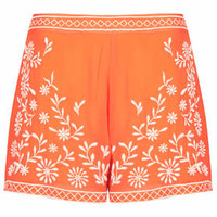 Trailing Flower Shorts - Tangerine