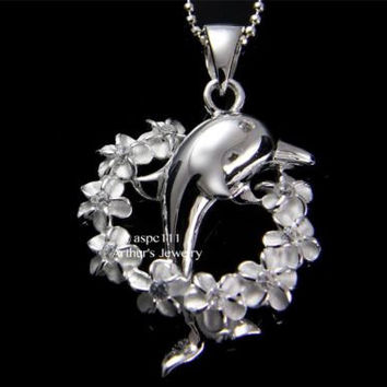 SILVER 925 HAWAIIAN SHINY DOLPHIN JUMPING THROUGH PLUMERIA FLOWER LEI PENDANT CZ