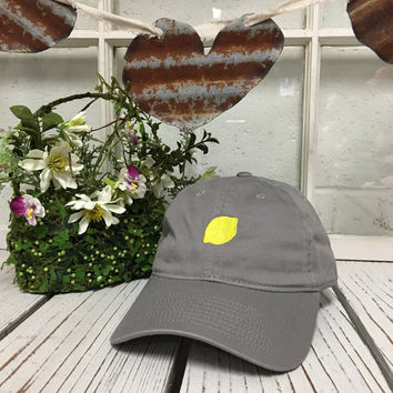 LEMON Baseball Hat Low Profile Embroidered GRAY Baseball Caps Dad Hats