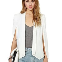 White Cape Shoulder Blazer
