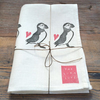 100% Linen Puffin Parade and Hearts Luxury Hand Printed Luxury Kitchen Tea Towel