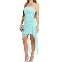 Mint Jeweled Hi Lo Hem Dresses