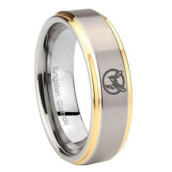 8MM Step Edges Honey Bee 14K Gold IP Tungsten 2 Tone Laser Engraved Ring