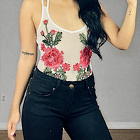 Catalina Mesh Floral Embroidered Bodysuit (White)