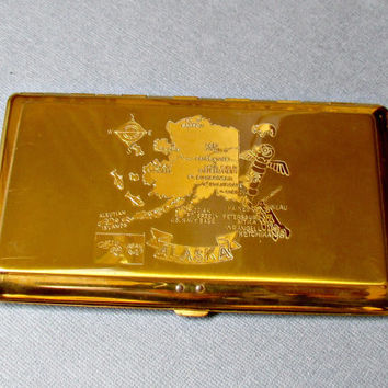 Gold Metal Alaska Souviner Cigarette Case