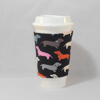 Coffee Cozy Made With Dachshund Themed Fabric For Coffee Lover Gift