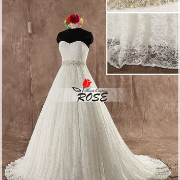 Sweetheart Ball Gown Wedding Dress French Lace with Detachable Crystal Beaded Sash Style WD106