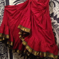 Reddish Cotton Sari Trim 25 Yard Skirt - TS109