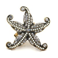Winter White Rhinestones and Crystals Starfish Stretch Cocktail Ring | AyaDesigns - Jewelry on ArtFire