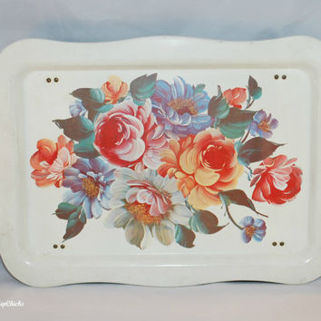 Breakfast In Bed Vintage Metal Shabby Floral Tray, Cottage Floral, Painted Flowers, Romance (c.1950's)