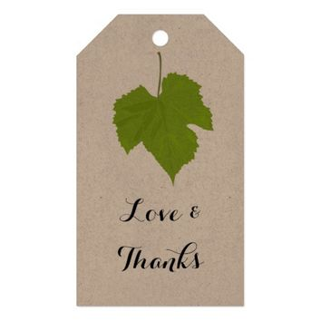 Green Leaf Love And Thanks Wedding Gift Tags