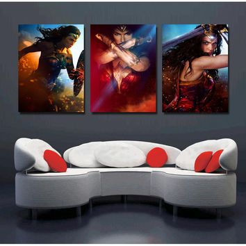 3 Panels Wonder Woman Movie Poster Painting Canvas Wall Art Picture