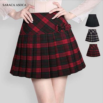 Spring Autumn Preppy Style Plaid High Quality Women Skirts Uniform Style A Line Girl Pleated Plaid Skirt High Waist