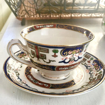 Antique Tea Cup and Saucer, Ironstone Ware Occupied Japan, Blue Tea Cup Set