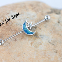Turquoise Moon CZ Star Southwest Industrial Barbell Ear Blue Turquoise Body Piercings