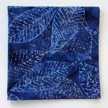 "Cobalt Blue Pocket Square / 13"" / Silver Leaf Hanky / Blue Cotton Hankies / Blue Batik Handkerchief / Wedding Hankies / Unique Hankies"