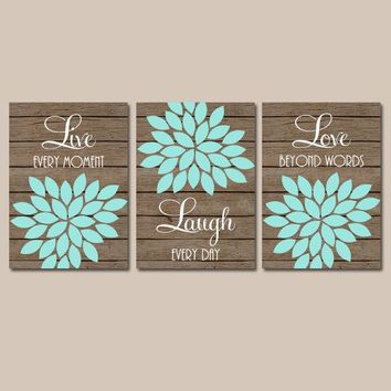 Live Laugh Love Wall Art, Bathroom Decor  Flower Wall Art, Girl Bedroom Pictures, CANVAS or Prints Girl Nursery Decor  Set of 3 Wall Decor