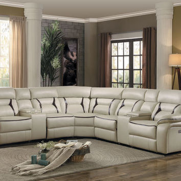 7 pc Amite collection beige leather gel match upholstered sectional sofa with power recliners