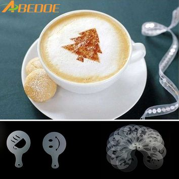 ABEDOE 16Pcs Cartoon Mold Coffee Milk Cake Cupcake Stencils Template Barista Cappuccino Template Strew Pad Duster Spray Tools