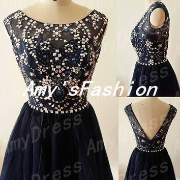 Navy Blue Beaded Short Prom Dress,Unique Prom Dress 2014,Deep V-back Back Pleated Tulle Cocktail Dress,Prom Dress 2014,Short Cockatil Dress