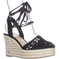 MICHAEL Michael Kors Darci Closed Toe Lace Up Wedge Espadrilles - Black
