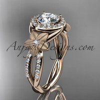 14kt rose gold diamond leaf and vine wedding ring, engagement ring ADLR127