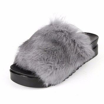 Peep Toe Furry Slip On Flat Casual Home Floor Slippers