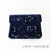 CARMINE japanese night sky navy small leather wallet
