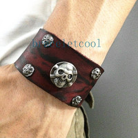 Rock Punk Style Real Leather Skull Bracelet Women Leather Cuff Bracelet, Men Bangle Cuff  Jewelry Bangle RC18