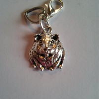 Silver coloured metal Guinea pig, hamster charm clip on lobster clasp, charm bracelets, zip pull