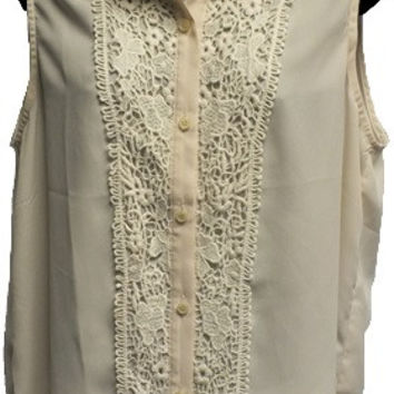 Cream Lace Detail Button Up Collared Top