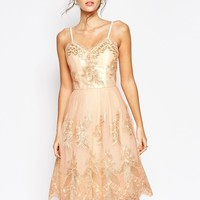 Chi Chi London Premium Metallic Lace Midi Prom Dress with Cami Straps