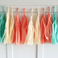 Mint and Melon Tissue Paper Tassel Pennant