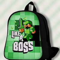 Purple Creeper Like a Boss green - Custom SchoolBags/Backpack for Kids.